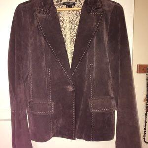 Super cute Karen Kane short brown leather jacket